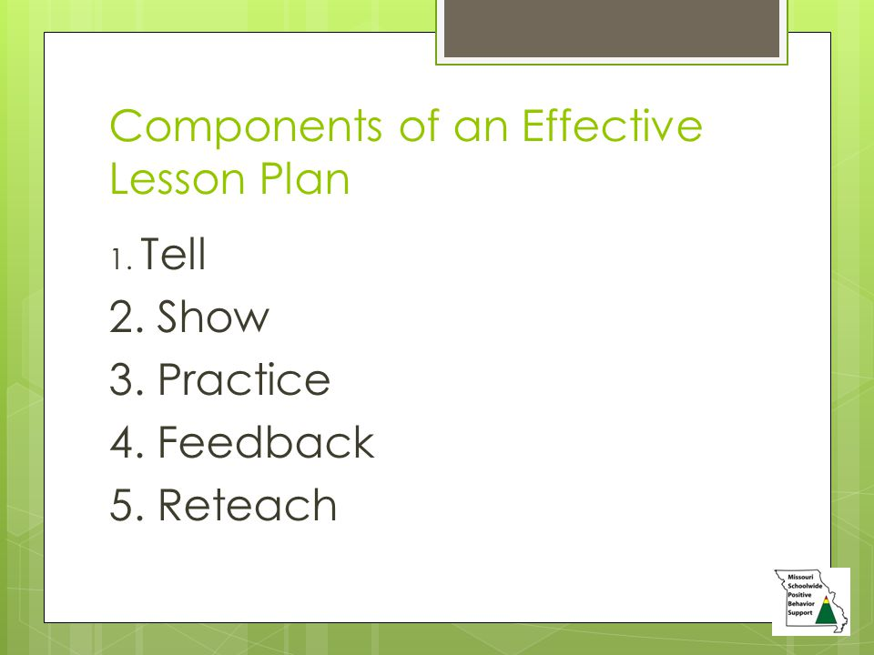 Components of an Effective Lesson Plan 1. Tell 2. Show 3. Practice 4. Feedback 5. Reteach