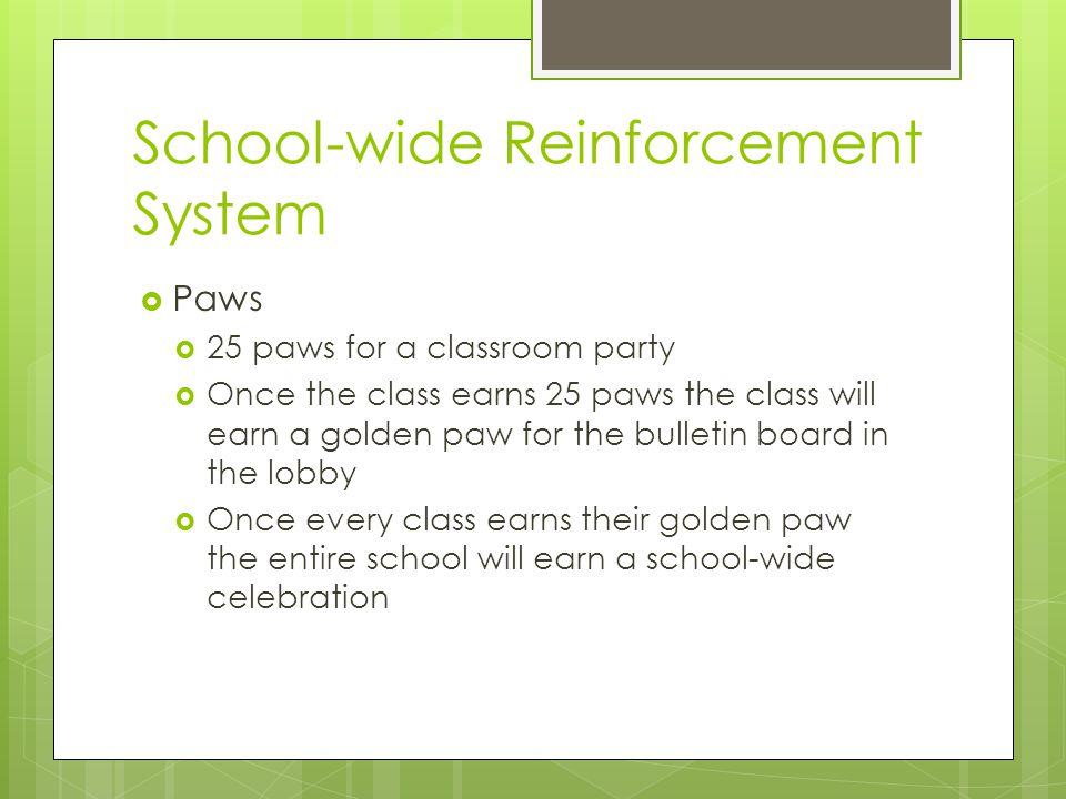 School-wide Reinforcement System  Paws  25 paws for a classroom party  Once the class earns 25 paws the class will earn a golden paw for the bulletin board in the lobby  Once every class earns their golden paw the entire school will earn a school-wide celebration
