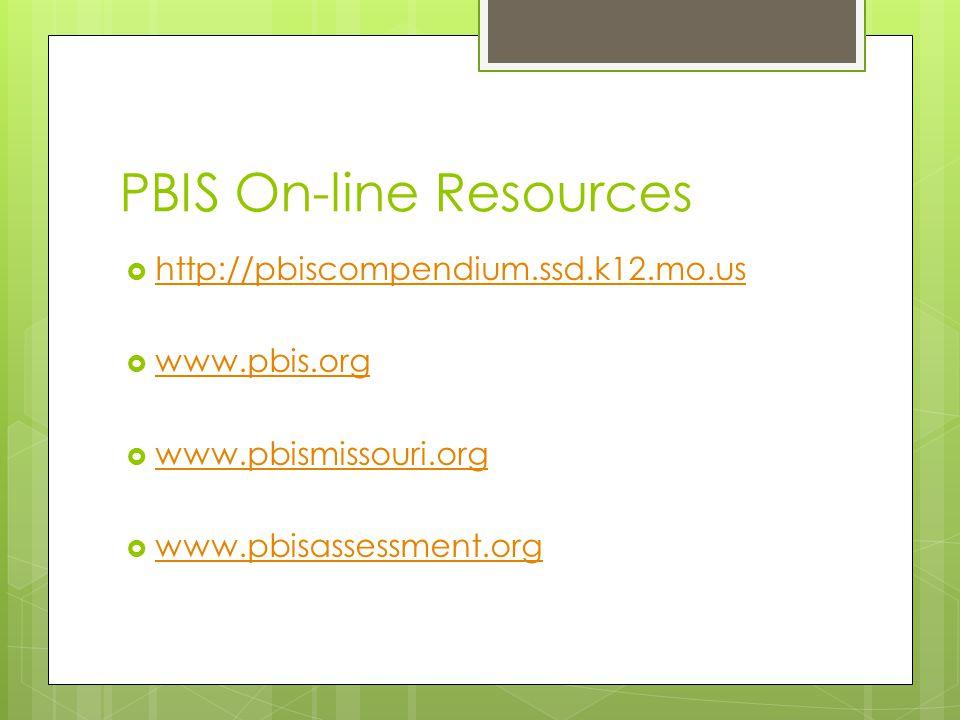 PBIS On-line Resources  http://pbiscompendium.ssd.k12.mo.us http://pbiscompendium.ssd.k12.mo.us  www.pbis.org www.pbis.org  www.pbismissouri.org www.pbismissouri.org  www.pbisassessment.org www.pbisassessment.org