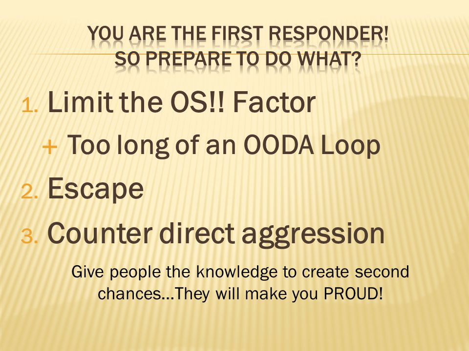 1. Limit the OS!. Factor  Too long of an OODA Loop 2.