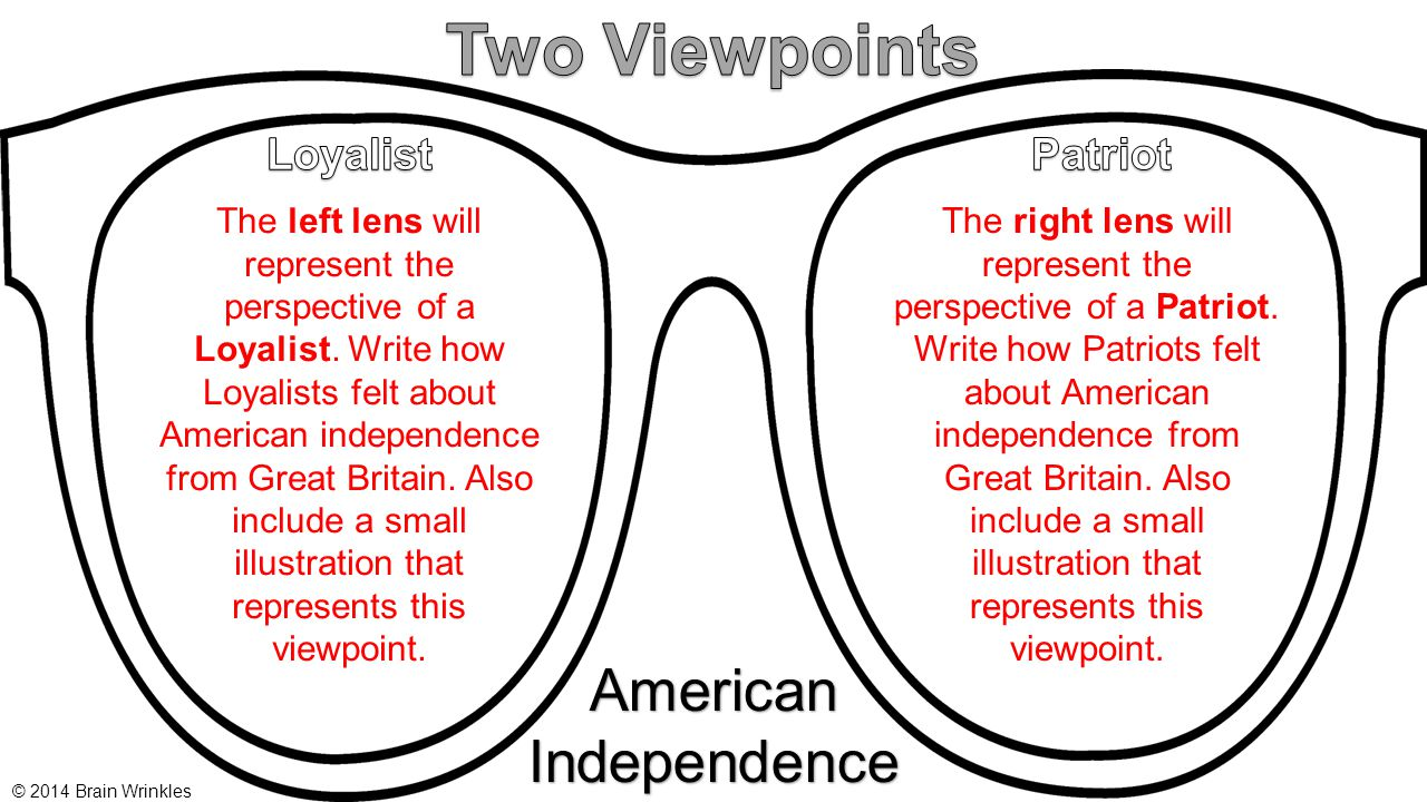 AmericanIndependence The left lens will represent the perspective of a Loyalist. Write how Loyalists felt about American independence from Great Brita