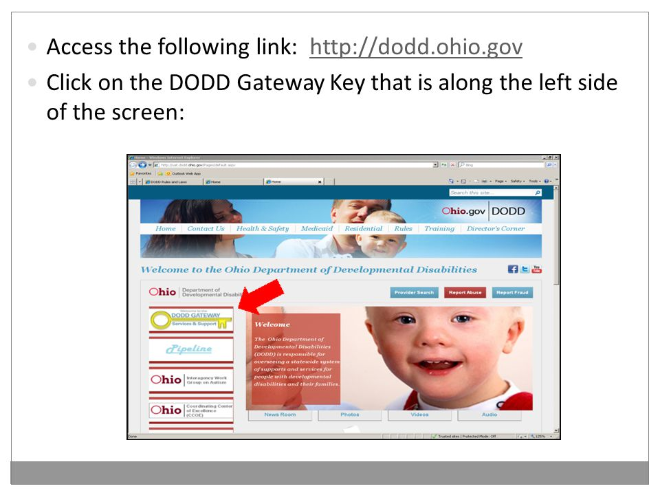 Access the following link: http://dodd.ohio.govhttp://dodd.ohio.gov Click on the DODD Gateway Key that is along the left side of the screen:
