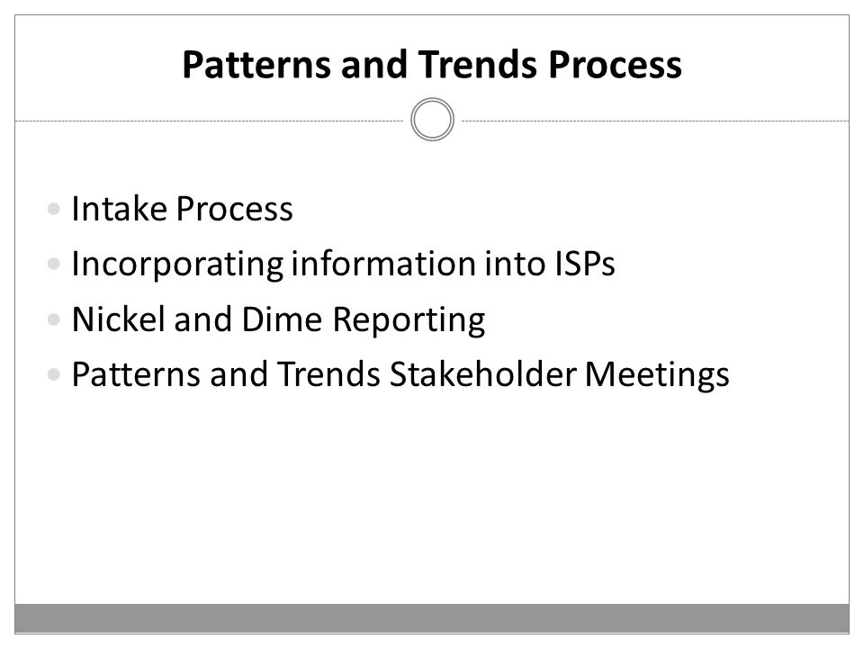 Patterns and Trends Process Intake Process Incorporating information into ISPs Nickel and Dime Reporting Patterns and Trends Stakeholder Meetings