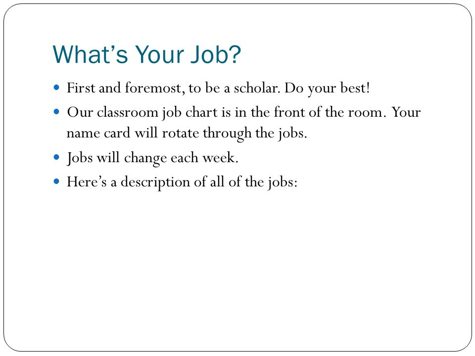What's Your Job. First and foremost, to be a scholar.