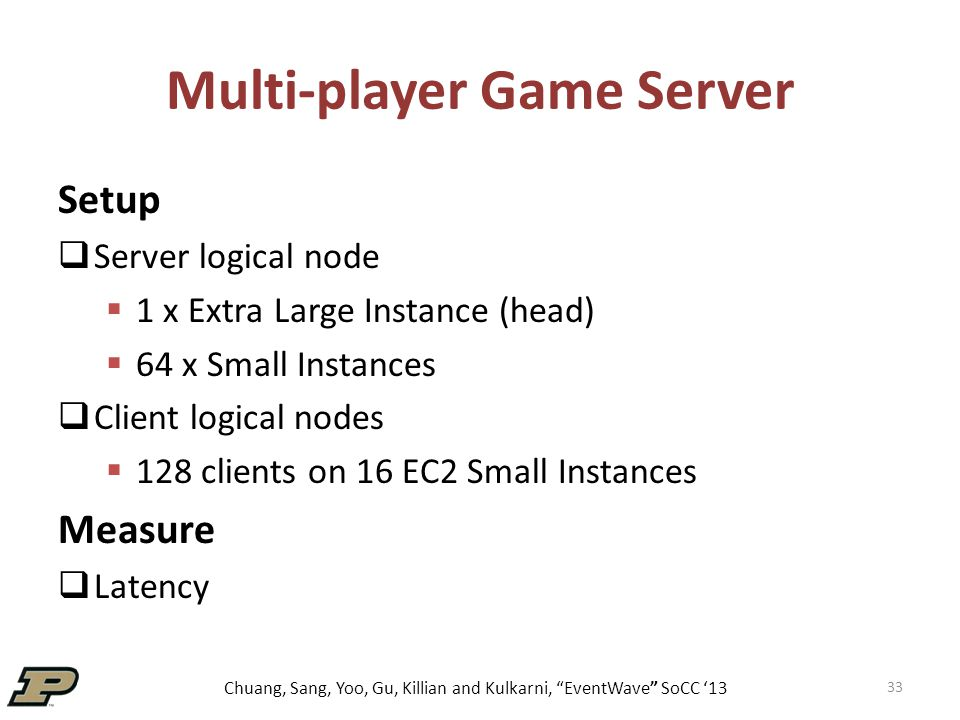 Chuang, Sang, Yoo, Gu, Killian and Kulkarni, EventWave SoCC '13 Multi-player Game Server 33 Setup  Server logical node  1 x Extra Large Instance (head)  64 x Small Instances  Client logical nodes  128 clients on 16 EC2 Small Instances Measure  Latency