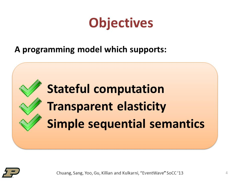 Chuang, Sang, Yoo, Gu, Killian and Kulkarni, EventWave SoCC '13 Objectives 4 A programming model which supports: Stateful computation Simple sequential semantics Transparent elasticity