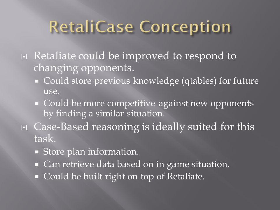  Retaliate could be improved to respond to changing opponents.
