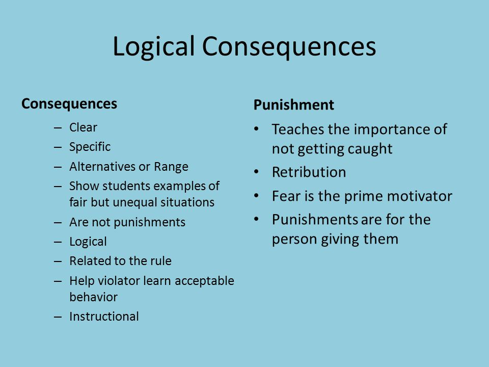 Logical Consequences Consequences – Clear – Specific – Alternatives or Range – Show students examples of fair but unequal situations – Are not punishments – Logical – Related to the rule – Help violator learn acceptable behavior – Instructional Punishment Teaches the importance of not getting caught Retribution Fear is the prime motivator Punishments are for the person giving them