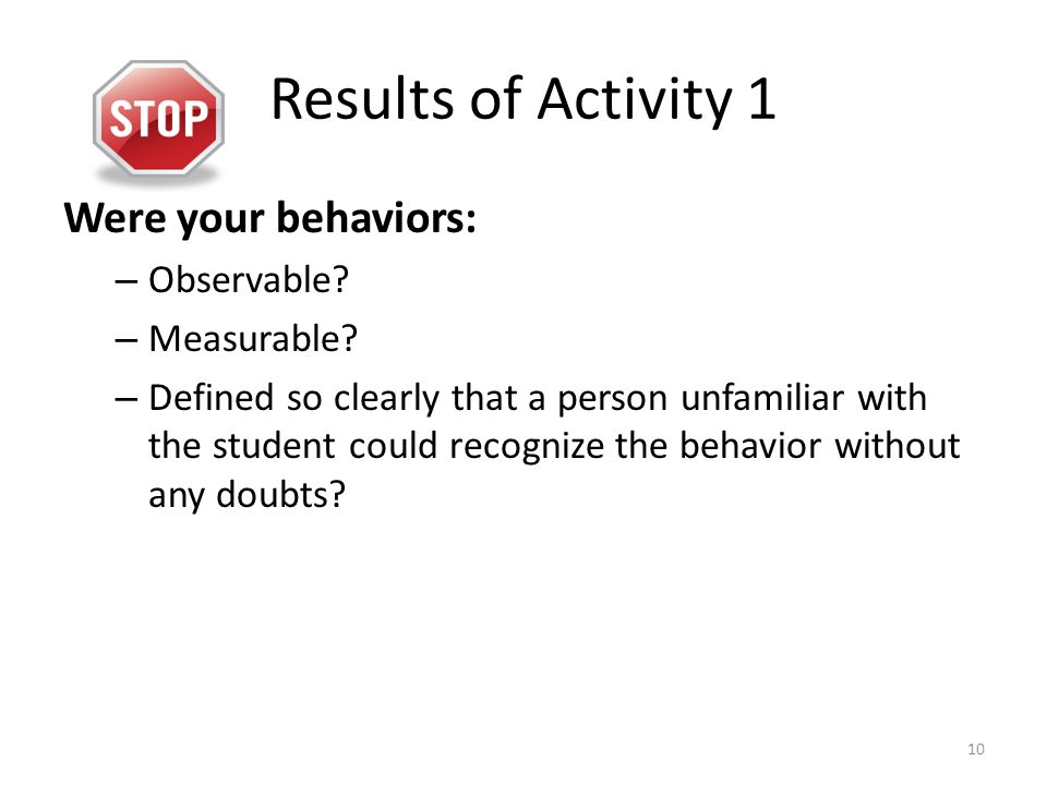 Results of Activity 1 Were your behaviors: – Observable? – Measurable? – Defined so clearly that a person unfamiliar with the student could recognize