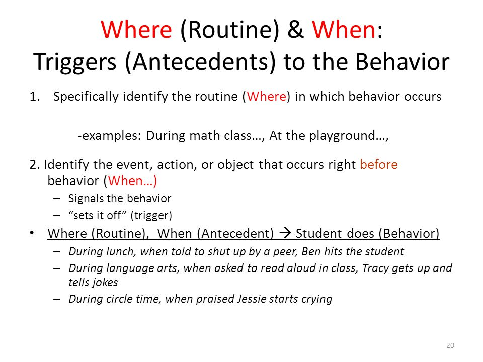 Where (Routine) & When: Triggers (Antecedents) to the Behavior 1.Specifically identify the routine (Where) in which behavior occurs -examples: During