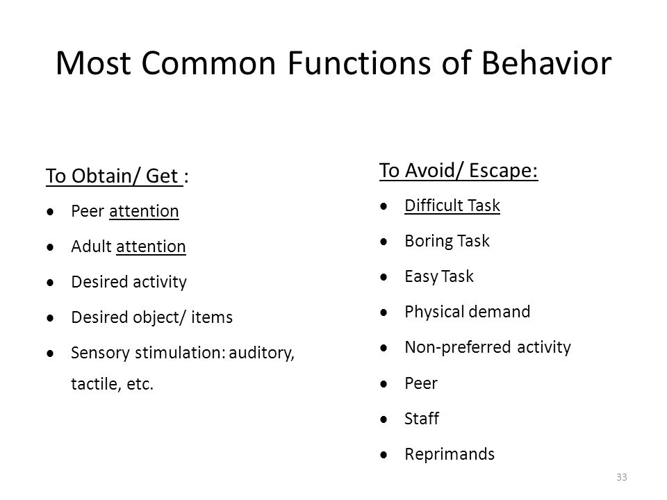 Most Common Functions of Behavior To Obtain/ Get :  Peer attention  Adult attention  Desired activity  Desired object/ items  Sensory stimulation