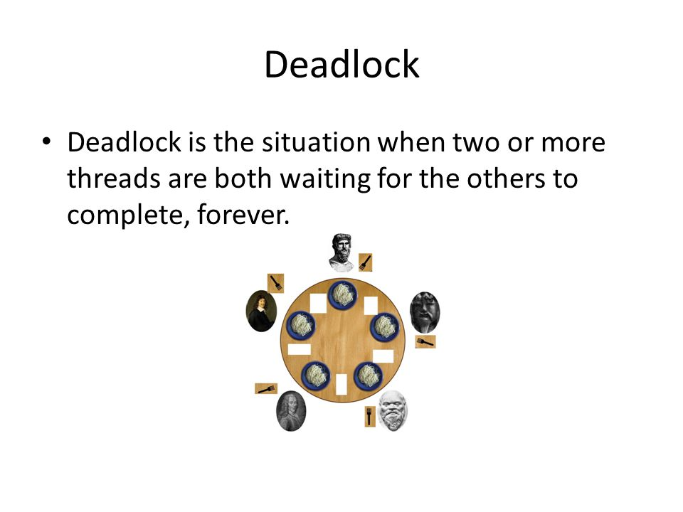 Cohort Exercise 1 (10 min) Given DiningPhil.java, modify it so as to demonstrate the deadlock.
