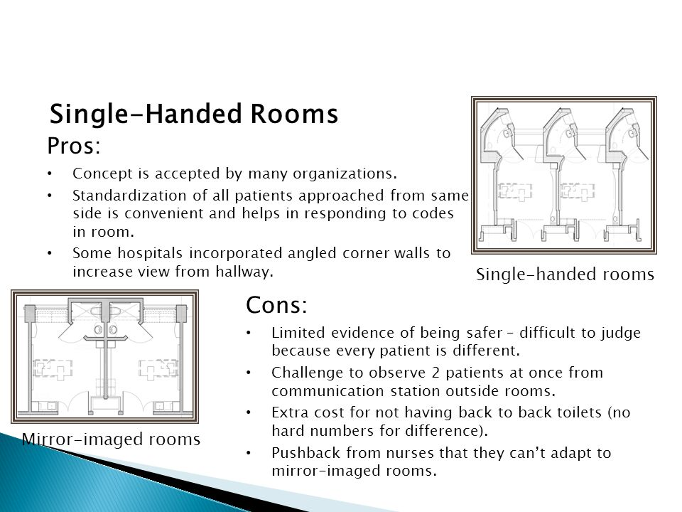 Single-Handed Rooms Pros: Concept is accepted by many organizations.