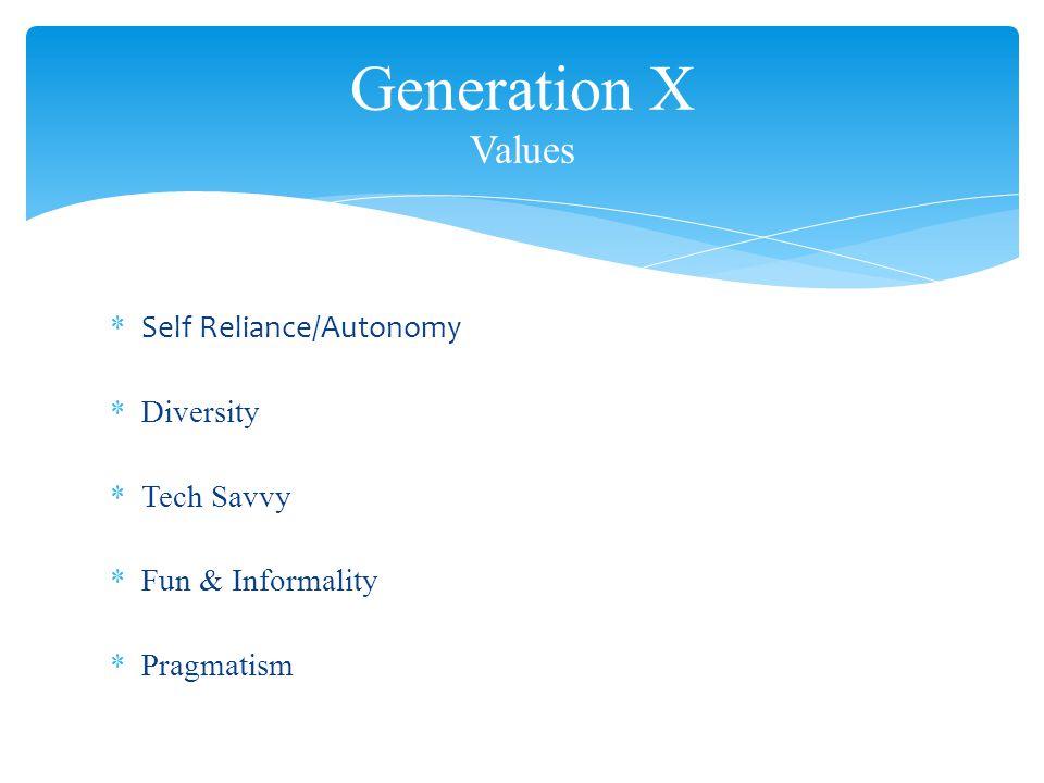 * Self Reliance/Autonomy *Diversity *Tech Savvy *Fun & Informality *Pragmatism Generation X Values
