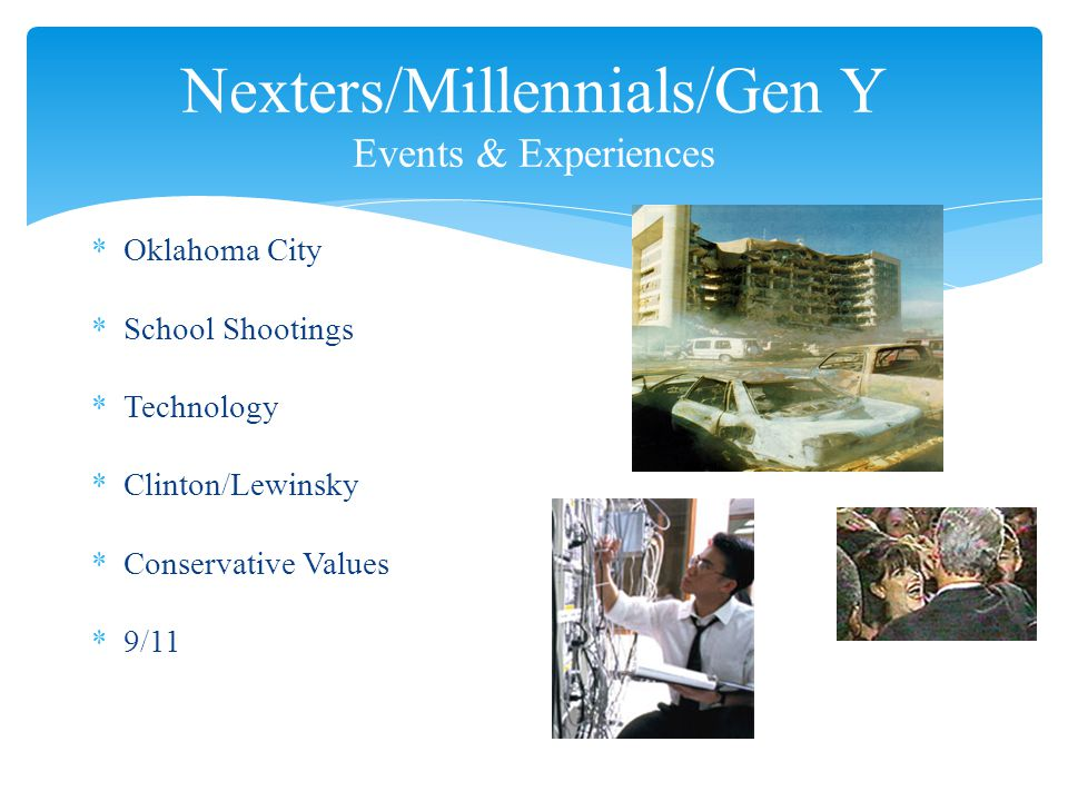 *Oklahoma City *School Shootings *Technology *Clinton/Lewinsky *Conservative Values *9/11 Nexters/Millennials/Gen Y Events & Experiences