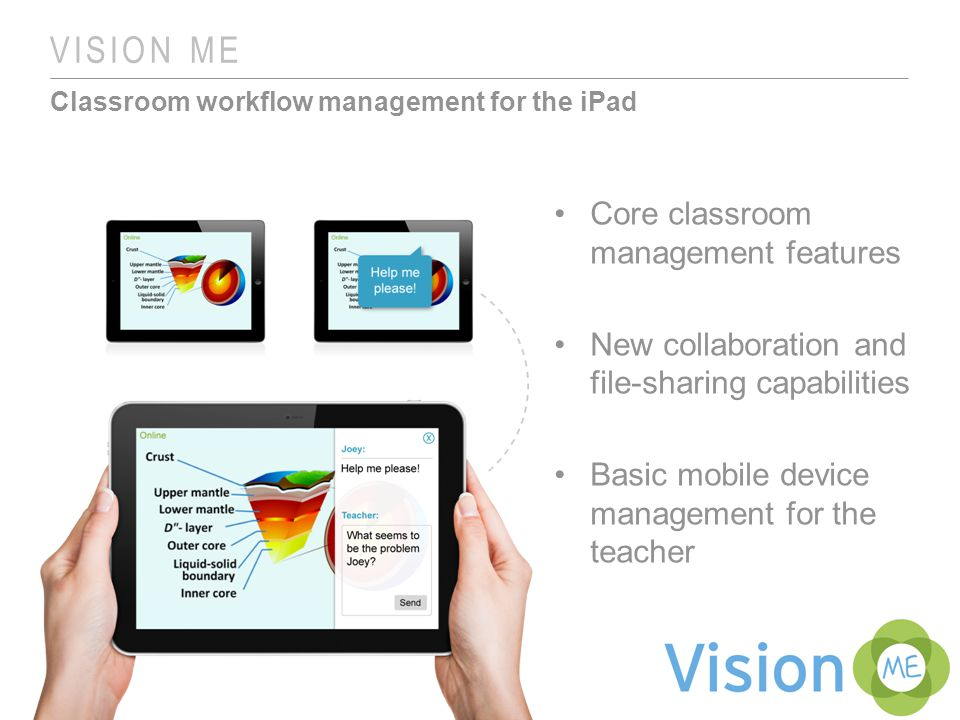 VISION ME Classroom workflow management for the iPad Core classroom management features New collaboration and file-sharing capabilities Basic mobile device management for the teacher