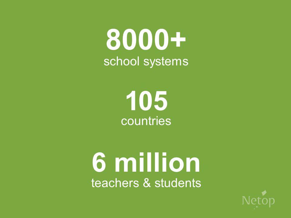 8000+ school systems 105 countries 6 million teachers & students