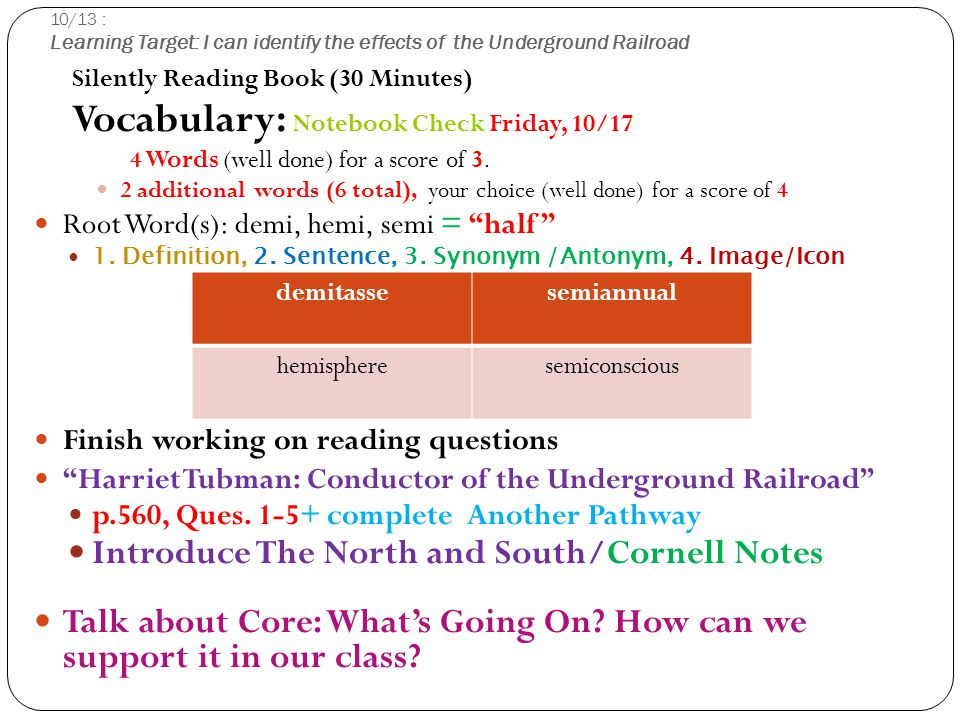 10/13 : Learning Target: I can identify the effects of the Underground Railroad Silently Reading Book (30 Minutes) Vocabulary: Notebook Check Friday, 10/17 4 Words (well done) for a score of 3.