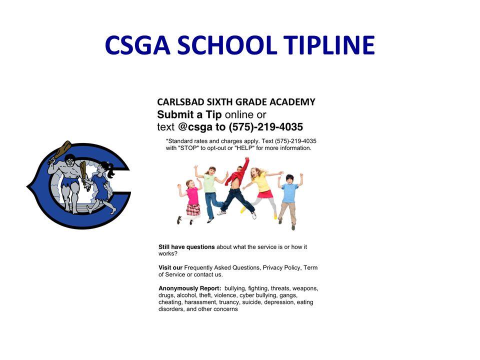 CSGA SCHOOL TIPLINE
