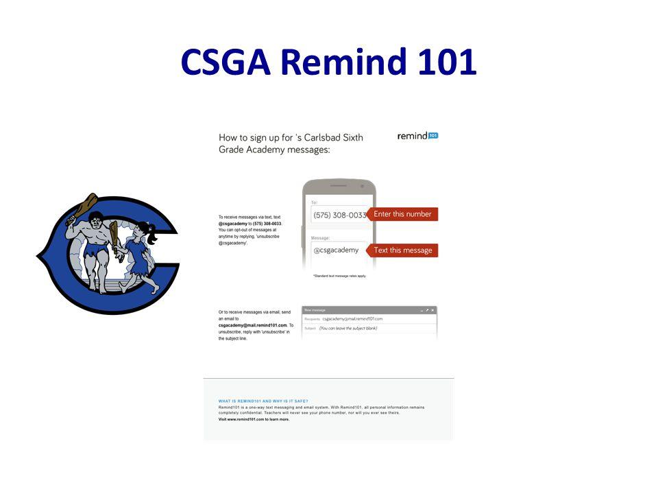 CSGA Remind 101