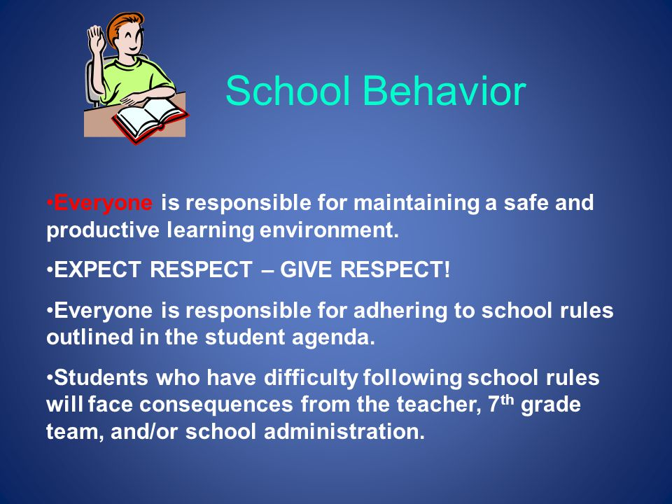 School Behavior Everyone is responsible for maintaining a safe and productive learning environment. EXPECT RESPECT – GIVE RESPECT! Everyone is respons