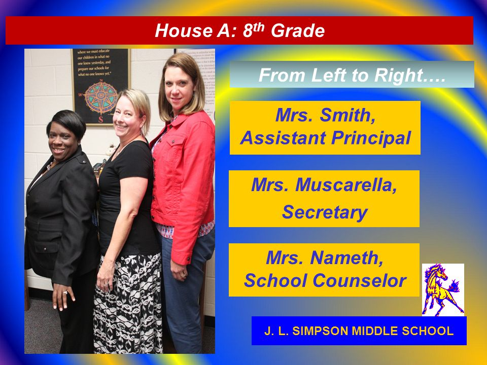 J. L. SIMPSON MIDDLE SCHOOL Mrs. Nameth, School Counselor House A: 8 th Grade Mrs. Smith, Assistant Principal Mrs. Muscarella, Secretary From Left to