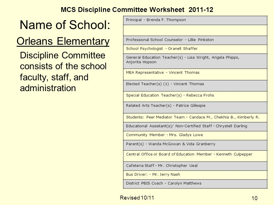 MCS Discipline Committee Worksheet 2011-12 Name of School: Orleans Elementary Discipline Committee consists of the school faculty, staff, and administration Principal - Brenda F.