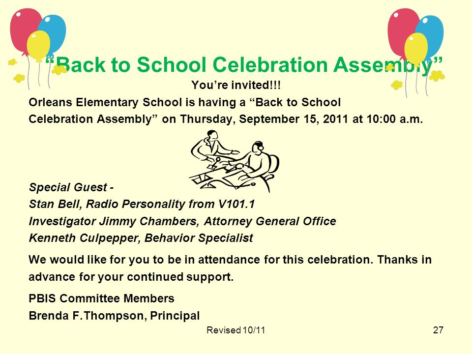 Back to School Celebration Assembly You're invited!!.