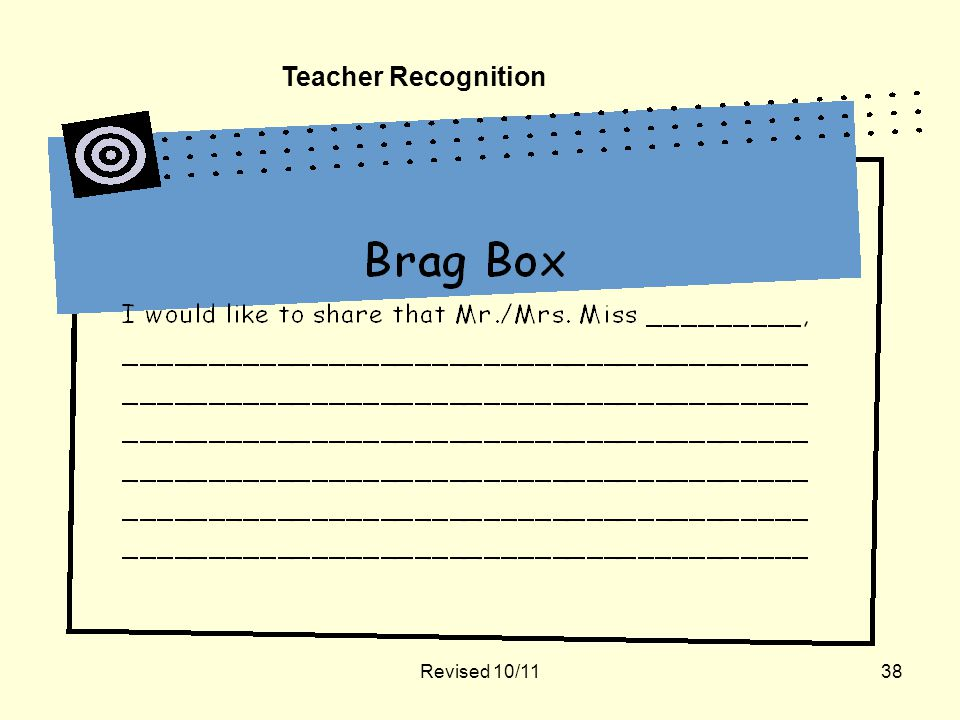Revised 10/1138 Teacher Recognition