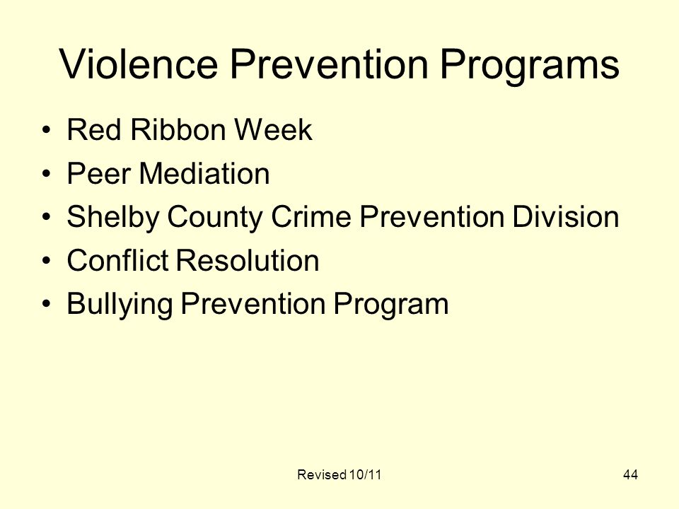 44 Violence Prevention Programs Red Ribbon Week Peer Mediation Shelby County Crime Prevention Division Conflict Resolution Bullying Prevention Program