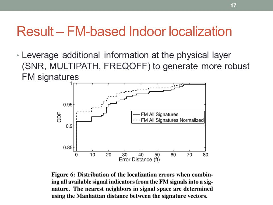 Result – FM-based Indoor localization Leverage additional information at the physical layer (SNR, MULTIPATH, FREQOFF) to generate more robust FM signatures 17