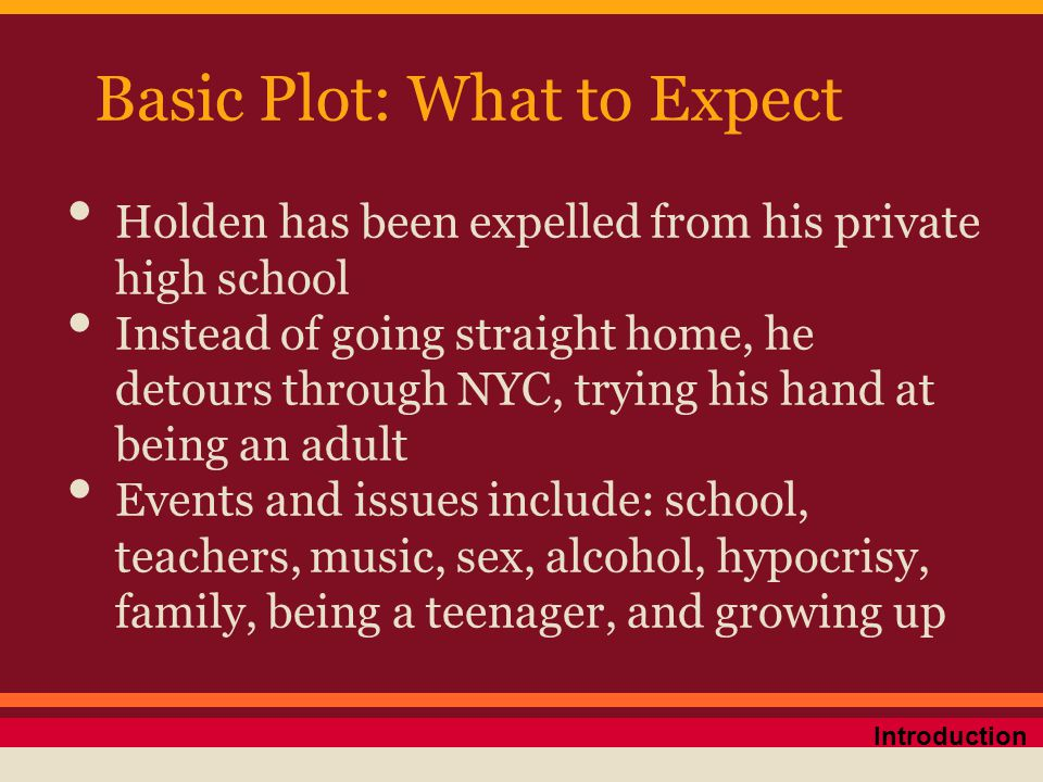 Basic Plot: What to Expect Holden has been expelled from his private high school Instead of going straight home, he detours through NYC, trying his ha