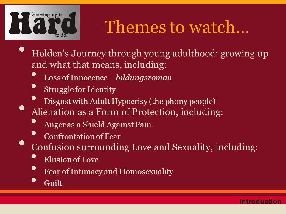 Themes to watch… Holden's Journey through young adulthood: growing up and what that means, including: Loss of Innocence - bildungsroman Struggle for I