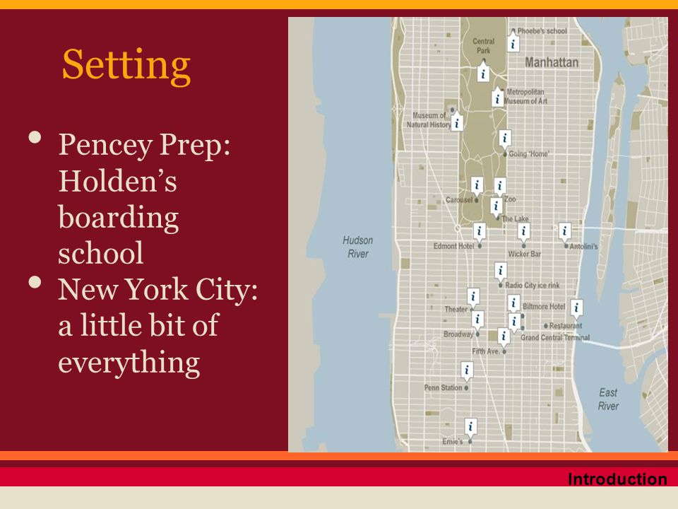 Setting Pencey Prep: Holden's boarding school New York City: a little bit of everything Introduction