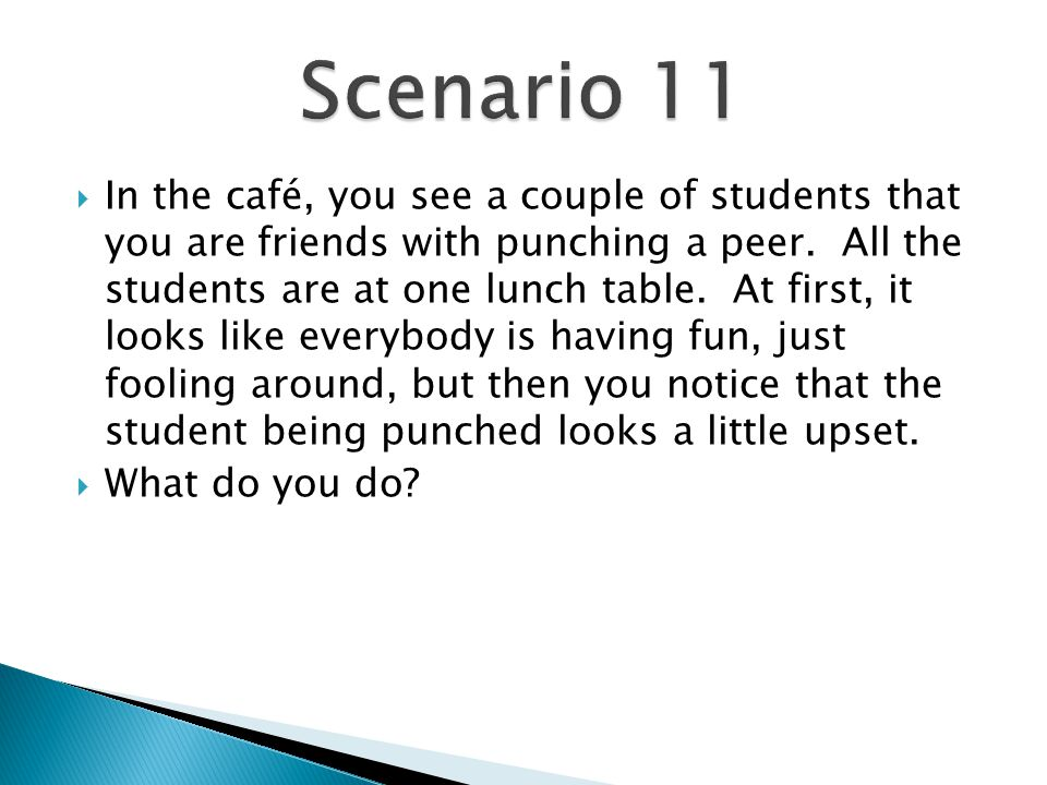  In the café, you see a couple of students that you are friends with punching a peer.