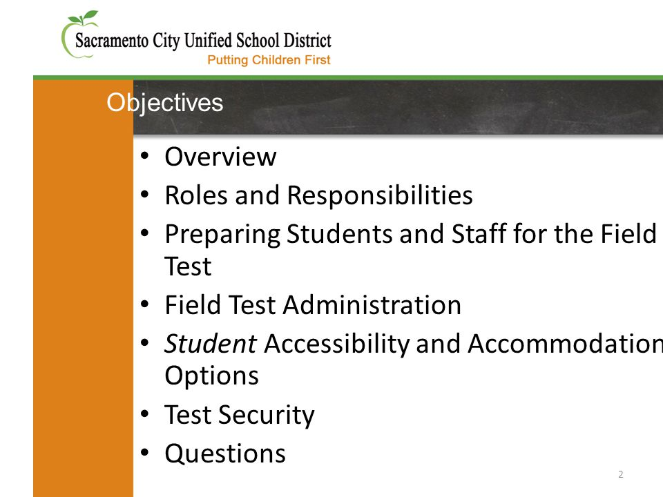 Objectives 2 Overview Roles and Responsibilities Preparing Students and Staff for the Field Test Field Test Administration Student Accessibility and A