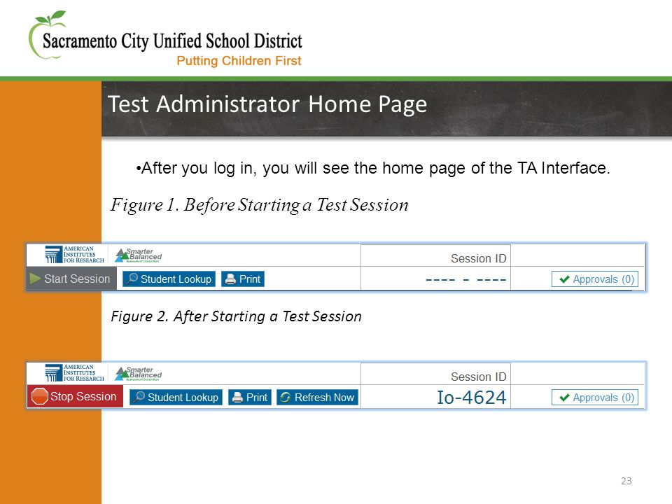 Test Administrator Home Page 23 After you log in, you will see the home page of the TA Interface. Figure 1. Before Starting a Test Session Figure 2. A