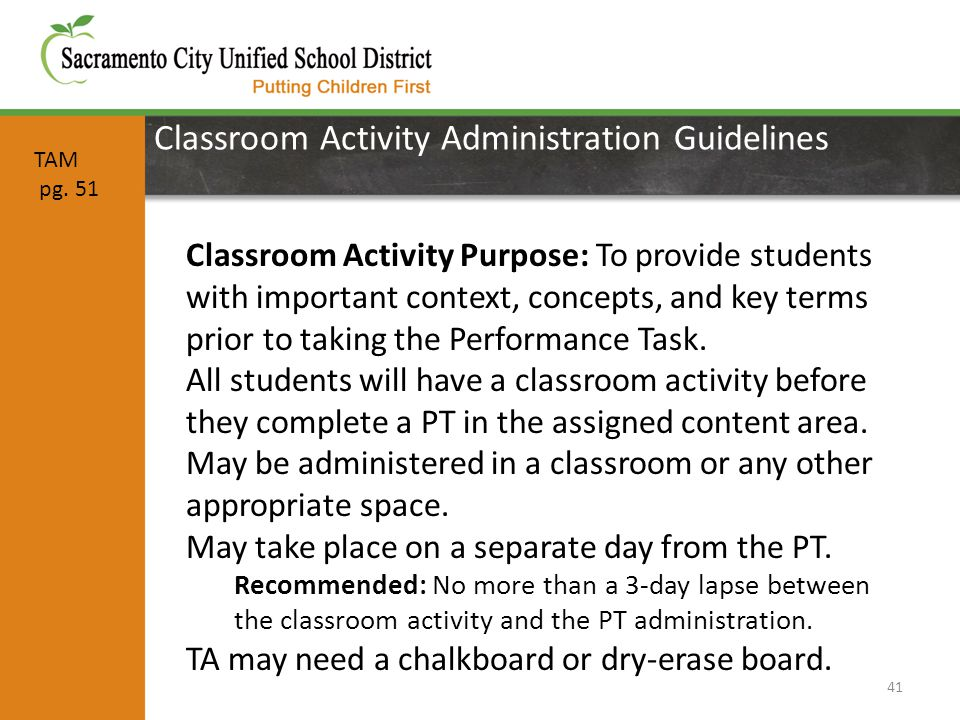 Classroom Activity Administration Guidelines 41 Classroom Activity Purpose: To provide students with important context, concepts, and key terms prior