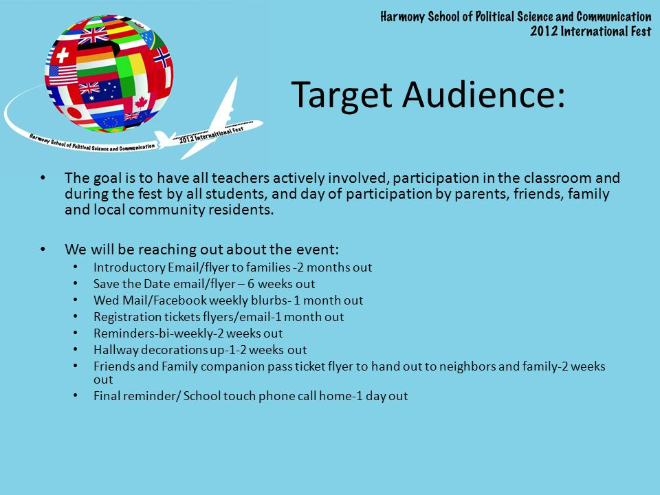 Target Audience: The goal is to have all teachers actively involved, participation in the classroom and during the fest by all students, and day of pa