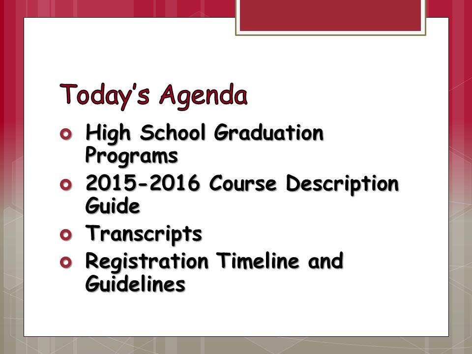  High School Graduation Programs  2015-2016 Course Description Guide  Transcripts  Registration Timeline and Guidelines