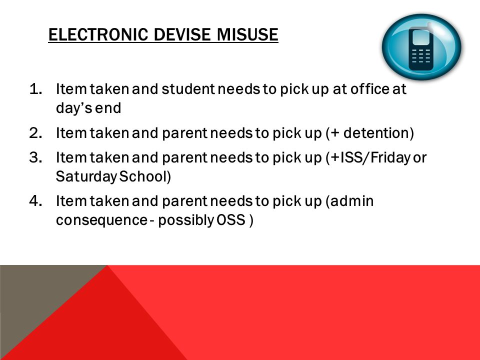 ELECTRONIC DEVISE MISUSE 1.Item taken and student needs to pick up at office at day's end 2.Item taken and parent needs to pick up (+ detention) 3.Item taken and parent needs to pick up (+ISS/Friday or Saturday School) 4.Item taken and parent needs to pick up (admin consequence - possibly OSS )