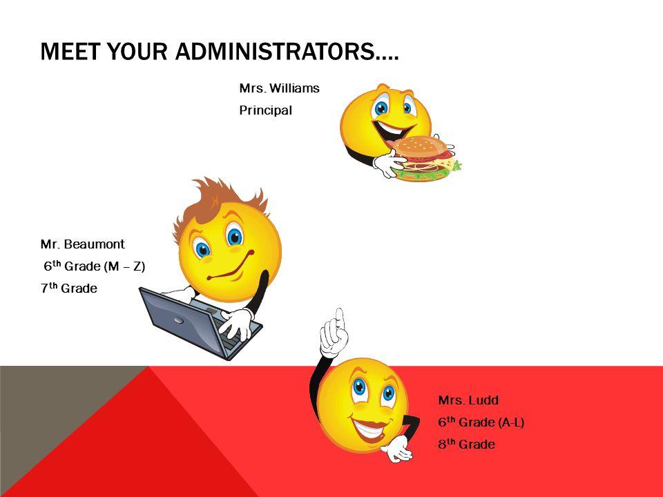 MEET YOUR ADMINISTRATORS…. Mrs. Williams Principal Mr.