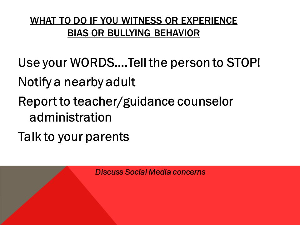 WHAT TO DO IF YOU WITNESS OR EXPERIENCE BIAS OR BULLYING BEHAVIOR Use your WORDS….Tell the person to STOP.