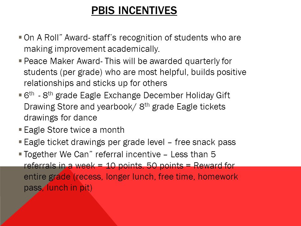 PBIS INCENTIVES  On A Roll Award- staff's recognition of students who are making improvement academically.