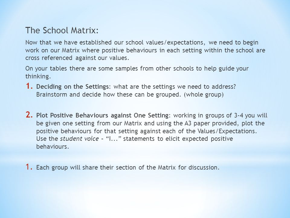 The School Matrix: Now that we have established our school values/expectations, we need to begin work on our Matrix where positive behaviours in each setting within the school are cross referenced against our values.