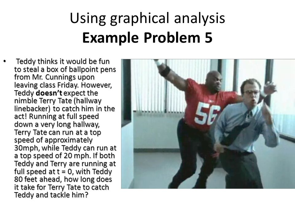Using graphical analysis Example Problem 5 Teddy thinks it would be fun to steal a box of ballpoint pens from Mr.