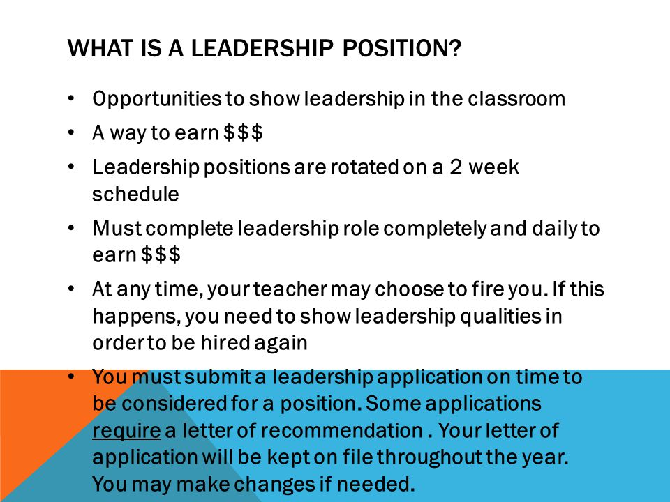 WHAT IS A LEADERSHIP POSITION.