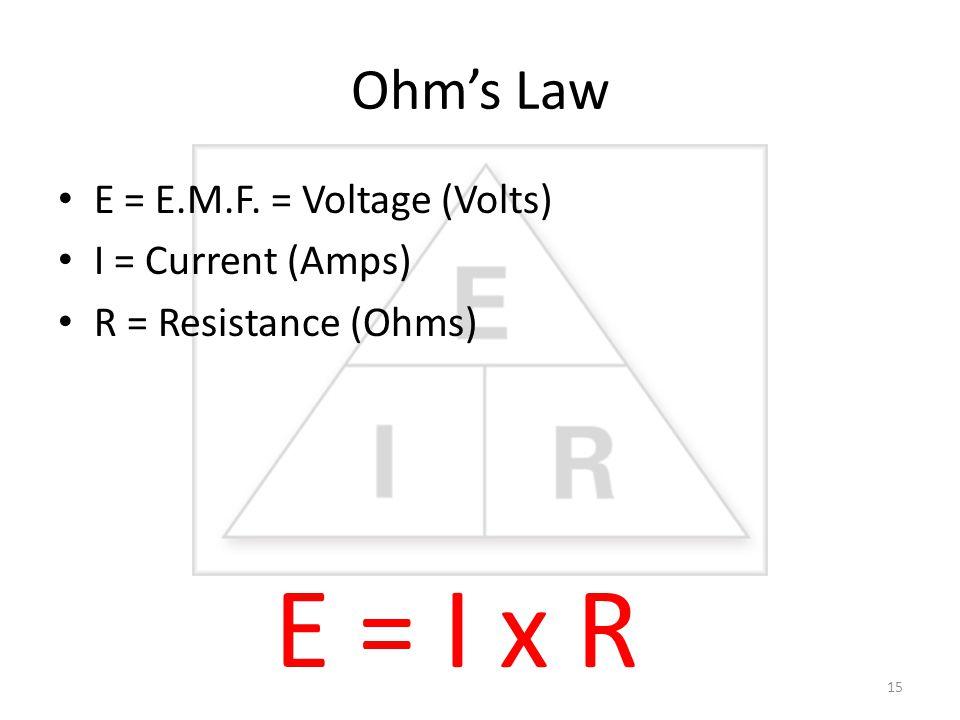 Ohm's Law E = E.M.F. = Voltage (Volts) I = Current (Amps) R = Resistance (Ohms) E = I x R 15