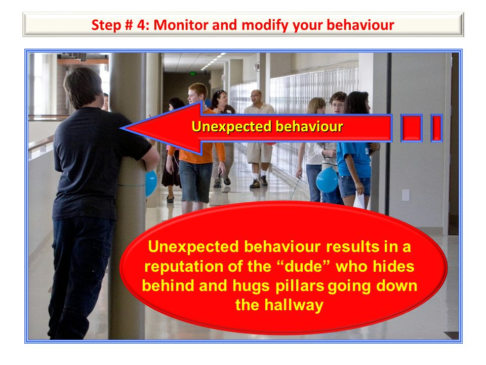 """Step # 4: Monitor and modify your behaviour Unexpected behaviour Unexpected behaviour results in a reputation of the """"dude"""" who hides behind and hugs"""