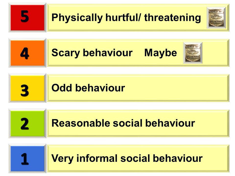 1 2 3 4 5 Very informal social behaviour Reasonable social behaviour Odd behaviour Scary behaviour Maybe Physically hurtful/ threatening